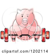 Clipart Of A Fit Pig Exercising And Lifting A Barbell Royalty Free Vector Illustration