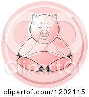 Clipart Of A Pig Meditating Icon Royalty Free Vector Illustration by Lal Perera