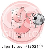 Clipart Of A Sporty Pig Playing Soccer Icon Royalty Free Vector Illustration by Lal Perera