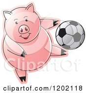 Clipart Of A Sporty Pig Playing Soccer Royalty Free Vector Illustration by Lal Perera