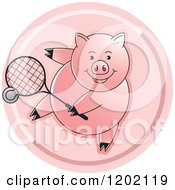 Clipart Of A Sporty Pig Playing Tennis Icon Royalty Free Vector Illustration
