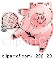 Clipart Of A Sporty Pig Playing Tennis Royalty Free Vector Illustration