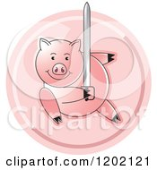Clipart Of A Pig Fighting With A Sword Icon Royalty Free Vector Illustration