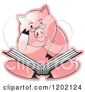 Clipart Of A Pig Sitting And Reading A Book Royalty Free Vector Illustration