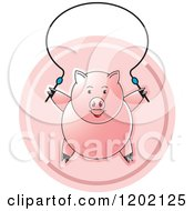Clipart Of A Pig Exercising With A Jump Rope Icon Royalty Free Vector Illustration