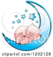 Clipart Of A Pig Sleeping On A Blue Crescent Moon Royalty Free Vector Illustration