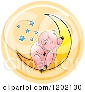 Clipart Of A Pig Sleeping On A Crescent Moon Icon Royalty Free Vector Illustration