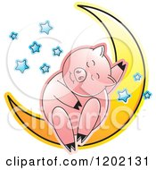 Clipart Of A Pig Sleeping On A Crescent Moon 2 Royalty Free Vector Illustration