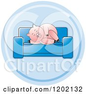 Clipart Of A Pig Sleeping On A Sofa Icon Royalty Free Vector Illustration