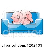 Clipart Of A Pig Sleeping On A Sofa Royalty Free Vector Illustration
