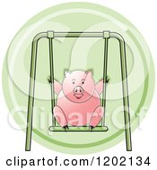 Clipart Of A Pig Playing On A Swing Icon Royalty Free Vector Illustration