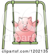 Clipart Of A Pig Playing On A Swing Royalty Free Vector Illustration