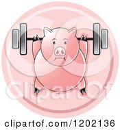 Clipart Of A Fit Pig Exercising With A Heavy Barbell Icon Royalty Free Vector Illustration