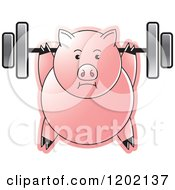Clipart Of A Fit Pig Exercising With A Heavy Barbell Royalty Free Vector Illustration by Lal Perera