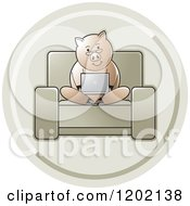 Clipart Of A Green Icon Of A Pig Using A Laptop Computer Royalty Free Vector Illustration