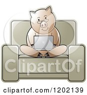 Clipart Of A Pig Using A Laptop Computer On A Chair Royalty Free Vector Illustration