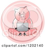 Clipart Of A Pink Icon Of A Pig Using A Laptop Computer Royalty Free Vector Illustration