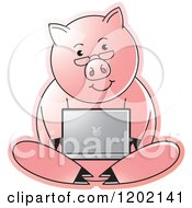 Clipart Of A Pig Using A Laptop Computer Royalty Free Vector Illustration