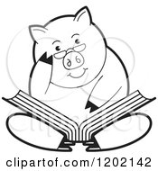 Clipart Of A Black And White Pig Sitting And Reading A Book Royalty Free Vector Illustration