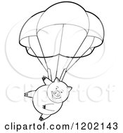Clipart Of A Black And White Pig Parachuting Royalty Free Vector Illustration
