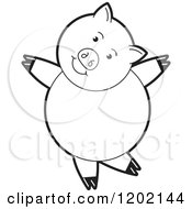 Clipart Of A Black And White Pig Dancing Royalty Free Vector Illustration