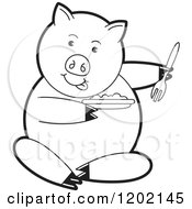 Clipart Of A Black And White Pig Sitting And Eating Royalty Free Vector Illustration
