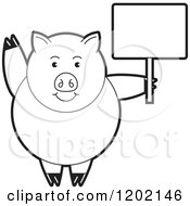 Clipart Of A Black And White Pig Waving And Holding A Sign Royalty Free Vector Illustration