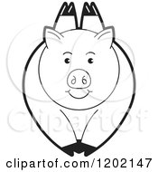 Clipart Of A Black And White Pig Leaping Royalty Free Vector Illustration
