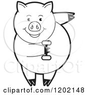 Clipart Of A Black And White Fit Pig Exercising With A Dumbbell Royalty Free Vector Illustration