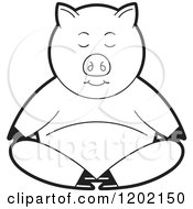 Clipart Of A Black And White Pig Meditating Royalty Free Vector Illustration by Lal Perera