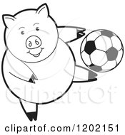 Clipart Of A Black And White Sporty Pig Playing Soccer Royalty Free Vector Illustration