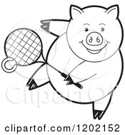 Clipart Of A Black And White Sporty Pig Playing Tennis Royalty Free Vector Illustration