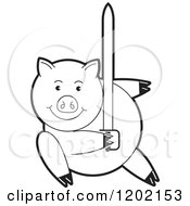 Clipart Of A Black And White Pig Fighting With A Sword Royalty Free Vector Illustration by Lal Perera