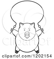 Clipart Of A Black And White Pig Exercising With A Jump Rope Royalty Free Vector Illustration