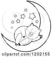 Clipart Of A Black And White Pig Sleeping On A Crescent Moon Royalty Free Vector Illustration