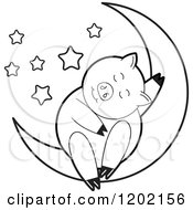 Clipart Of A Black And White Pig Sleeping On A Crescent Moon 2 Royalty Free Vector Illustration