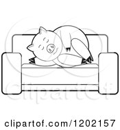 Clipart Of A Black And White Pig Sleeping On A Sofa Royalty Free Vector Illustration