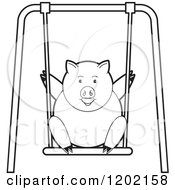 Clipart Of A Black And White Pig Playing On A Swing Royalty Free Vector Illustration