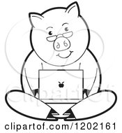 Clipart Of A Black And White Pig Using A Laptop Computer Royalty Free Vector Illustration