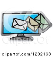 Clipart Of A Computer Screen And Email Icon Royalty Free Vector Illustration by Lal Perera