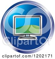 Clipart Of A Round Computer Monitor Screen Icon Royalty Free Vector Illustration by Lal Perera
