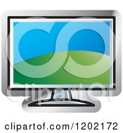 Clipart Of A Computer Monitor Screen Icon Royalty Free Vector Illustration by Lal Perera