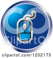 Clipart Of A Round Blue Computer Mouse Icon Royalty Free Vector Illustration