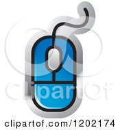Clipart Of A Blue Computer Mouse Icon Royalty Free Vector Illustration