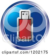 Clipart Of A Round Computer Flash Pen Drive Icon Royalty Free Vector Illustration