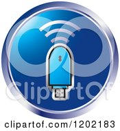 Clipart Of A Round Computer Wireless Usb Modem Royalty Free Vector Illustration by Lal Perera