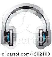 Clipart Of A Wireless Computer Headphone Icon Royalty Free Vector Illustration by Lal Perera