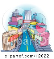 Shops Downtown In A City Clipart Illustration