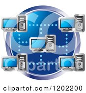 Clipart Of A Blue Computer Network Icon Royalty Free Vector Illustration