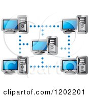 Clipart Of A Computer Network Icon Royalty Free Vector Illustration
